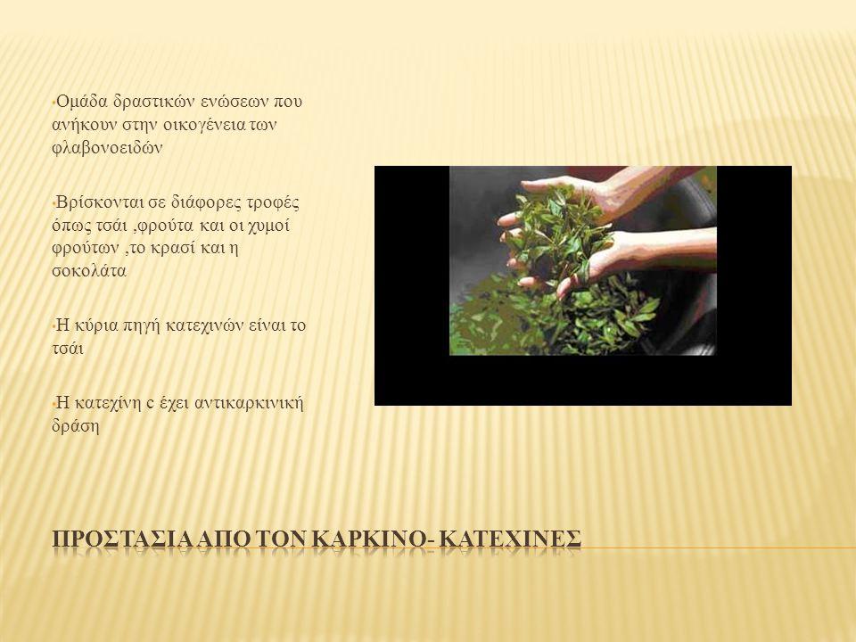 Ομάδα δραστικών ενώσεων που ανήκουν στην οικογένεια των φλαβονοειδών Βρίσκονται σε διάφορες τροφές όπως τσάι,φρούτα και οι χυμοί φρούτων,το κρασί και