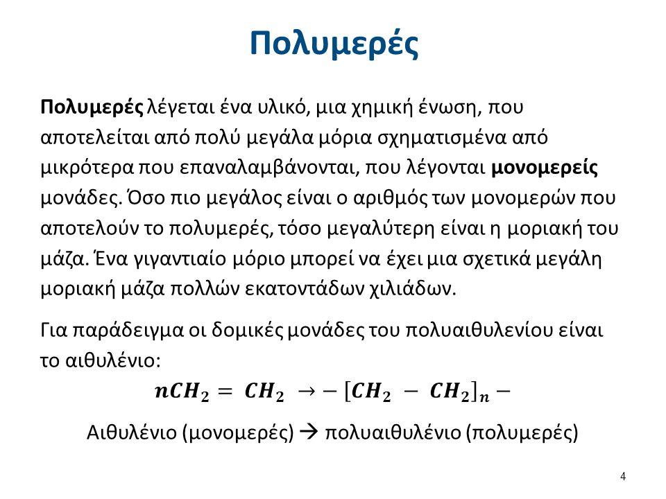 Παραδείγματα πολυμερισμού προσθήκης Πολυαιθυλένιο – PE, Πολυπροπυλένιο –PP, Πολυβινυλοχλωρίδιο –PVC, Οξικό πολυβινύλιο –PVA, Πολυβινυλαλκοόλη, Πολυστυρένιο, Αλκυδικές ρητίνες, Πολυτετραφθοροαιθυλένιο –PTFE, Πολυπροπενονιτρίλιο.