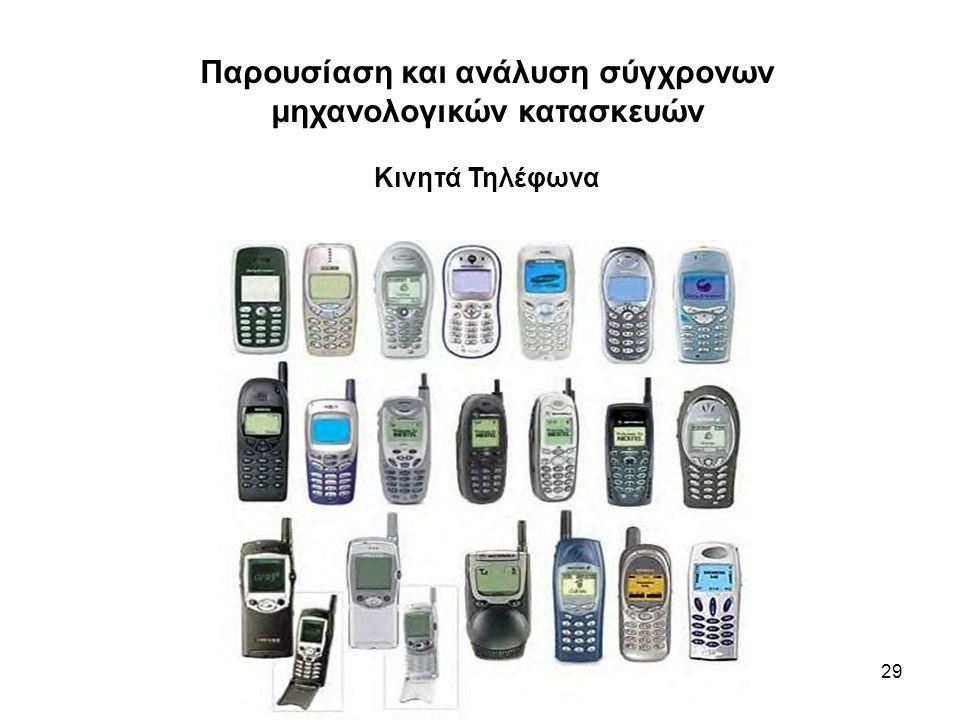 29 Παρουσίαση και ανάλυση σύγχρονων μηχανολογικών κατασκευών Κινητά Τηλέφωνα