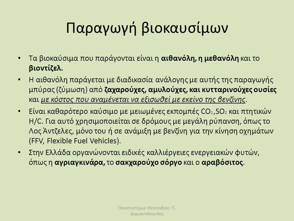 Παραγωγή βιοκαυσίμων Τα βιοκαύσιμα που παράγονται είναι η αιθανόλη, η μεθανόλη και το βιοντίζελ. Η αιθανόλη παράγεται με διαδικασία ανάλογης με αυτής
