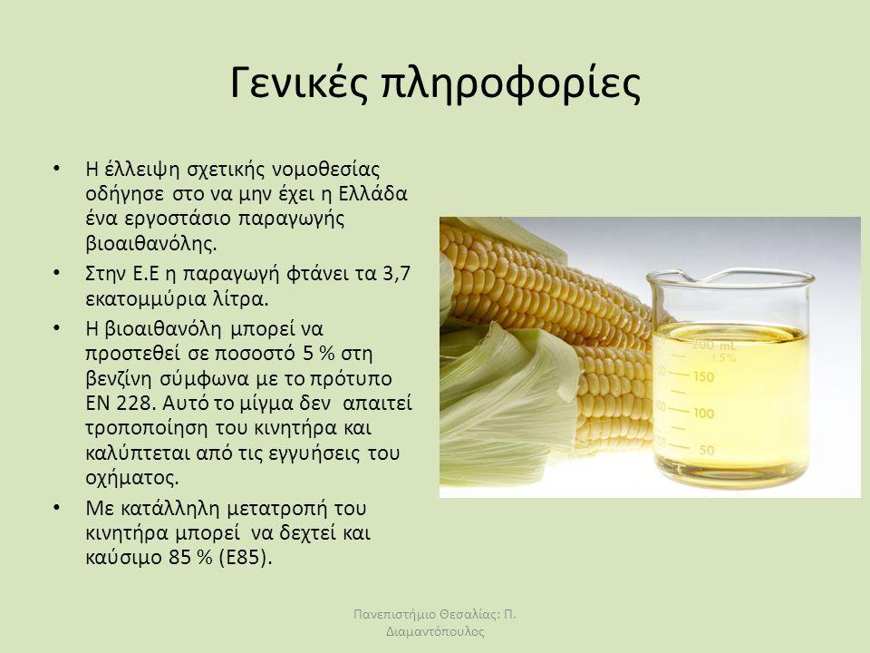 Γενικές πληροφορίες Η έλλειψη σχετικής νομοθεσίας οδήγησε στο να μην έχει η Ελλάδα ένα εργοστάσιο παραγωγής βιοαιθανόλης. Στην Ε.Ε η παραγωγή φτάνει τ