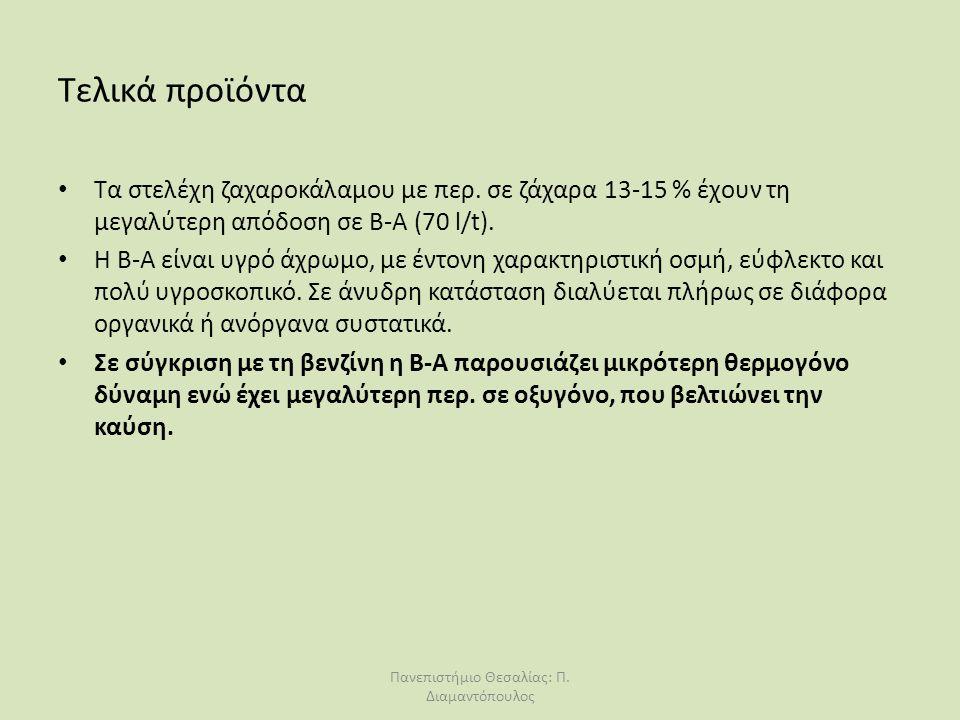 Τελικά προϊόντα Τα στελέχη ζαχαροκάλαμου με περ. σε ζάχαρα 13-15 % έχουν τη μεγαλύτερη απόδοση σε Β-Α (70 l/t). H B-A είναι υγρό άχρωμο, με έντονη χαρ