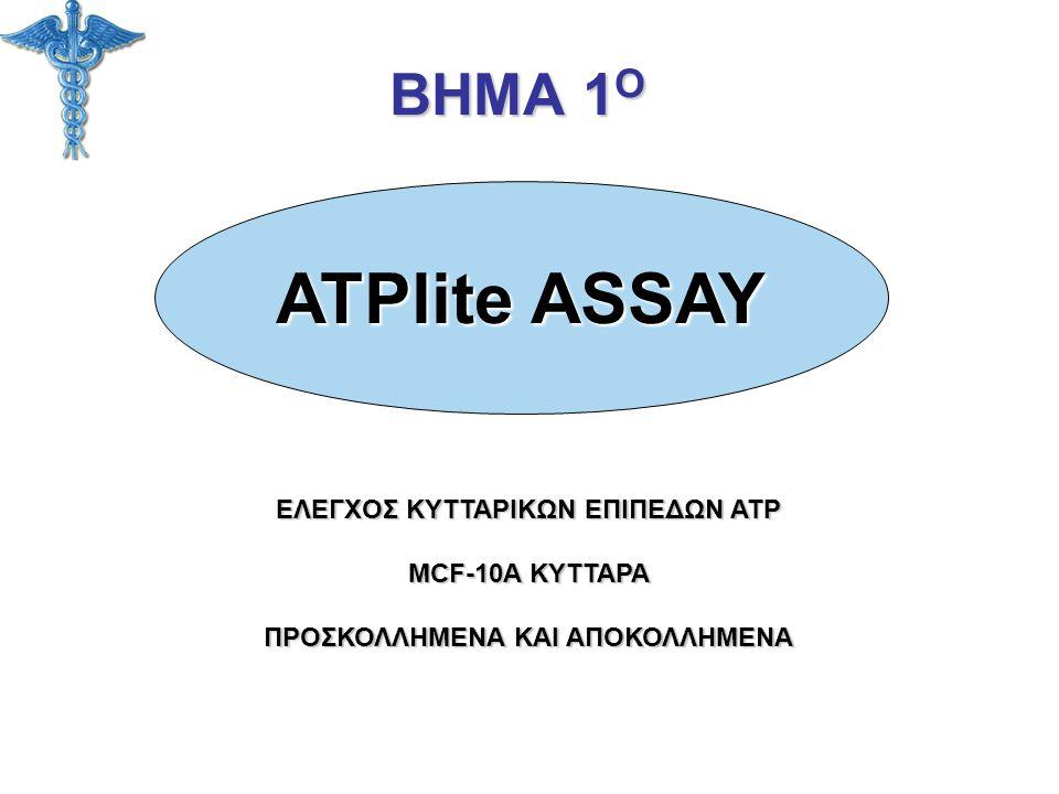 ΒΗΜΑ 1 Ο ΕΛΕΓΧΟΣ ΚΥΤΤΑΡΙΚΩΝ ΕΠΙΠΕΔΩΝ ATP MCF-10A ΚΥΤΤΑΡΑ ΠΡΟΣΚΟΛΛΗΜΕΝΑ ΚΑΙ ΑΠΟΚΟΛΛΗΜΕΝΑ ATPlite ASSAY
