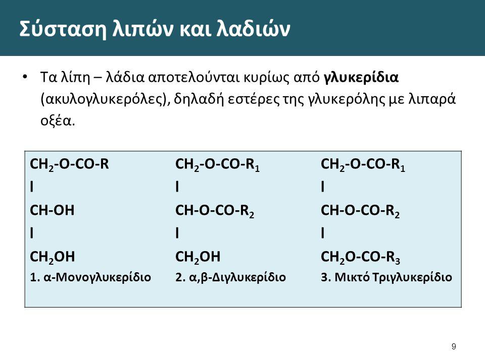 Σύσταση λιπών και λαδιών Τα λίπη – λάδια αποτελούνται κυρίως από γλυκερίδια (ακυλογλυκερόλες), δηλαδή εστέρες της γλυκερόλης με λιπαρά οξέα. 9 CH 2 -O