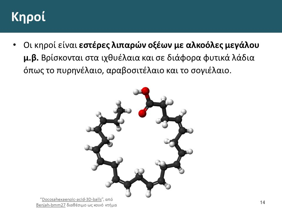 Κηροί Οι κηροί είναι εστέρες λιπαρών οξέων με αλκοόλες μεγάλου μ.β. Βρίσκονται στα ιχθυέλαια και σε διάφορα φυτικά λάδια όπως το πυρηνέλαιο, αραβοσιτέ