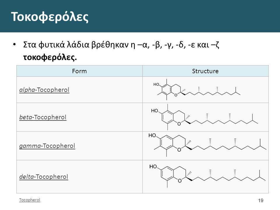 Τοκοφερόλες Στα φυτικά λάδια βρέθηκαν η –α, -β, -γ, -δ, -ε και –ζ τοκοφερόλες. 19 FormStructure alpha-Tocopherol beta-Tocopherol gamma-Tocopherol delt