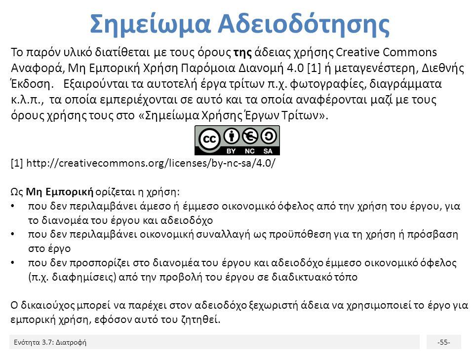 Ενότητα 3.7: Διατροφή-55- Σημείωμα Αδειοδότησης Το παρόν υλικό διατίθεται με τους όρους της άδειας χρήσης Creative Commons Αναφορά, Μη Εμπορική Χρήση