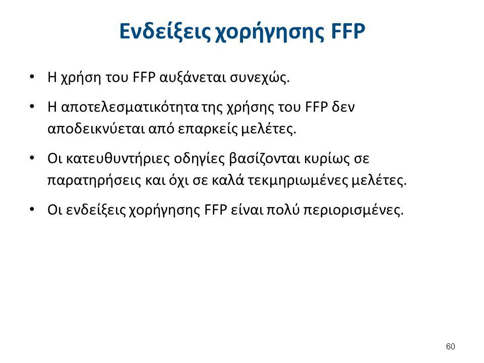 Ενδείξεις χορήγησης FFP Η χρήση του FFP αυξάνεται συνεχώς. Η αποτελεσματικότητα της χρήσης του FFP δεν αποδεικνύεται από επαρκείς μελέτες. Οι κατευθυν