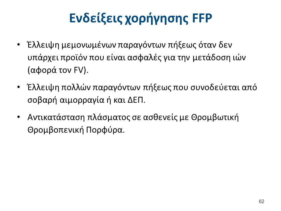 Ενδείξεις χορήγησης FFP Έλλειψη μεμονωμένων παραγόντων πήξεως όταν δεν υπάρχει προϊόν που είναι ασφαλές για την μετάδοση ιών (αφορά τον FV). Έλλειψη π