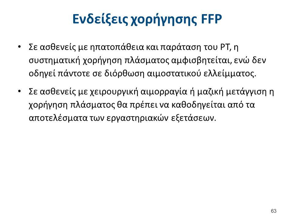 Ενδείξεις χορήγησης FFP Σε ασθενείς με ηπατοπάθεια και παράταση του PT, η συστηματική χορήγηση πλάσματος αμφισβητείται, ενώ δεν οδηγεί πάντοτε σε διόρ