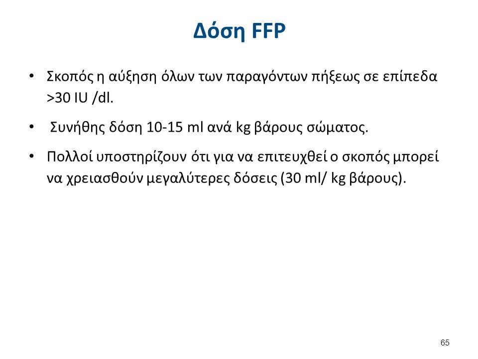Δόση FFP Σκοπός η αύξηση όλων των παραγόντων πήξεως σε επίπεδα >30 IU /dl. Συνήθης δόση 10-15 ml ανά kg βάρους σώματος. Πολλοί υποστηρίζουν ότι για να
