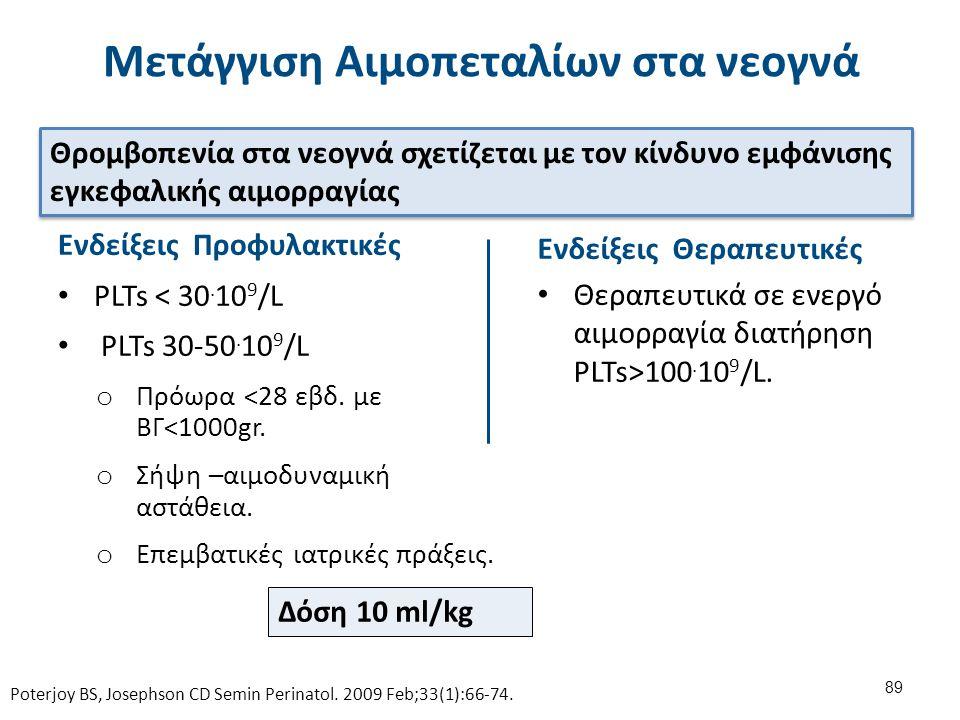 Ενδείξεις Προφυλακτικές PLTs < 30. 10 9 /L PLTs 30-50. 10 9 /L o Πρόωρα <28 εβδ. με ΒΓ<1000gr. o Σήψη –αιμοδυναμική αστάθεια. o Επεμβατικές ιατρικές π