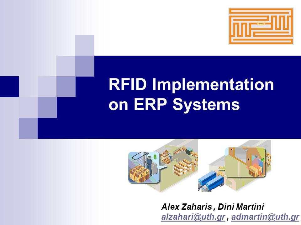 RFID Implementation on ERP Systems Τελευταία έρευνα σε 650 στελέχη μεγάλων εταιρειών logistics, που διενεργήθηκε από την FEDEX καταλήγει στο ότι: Η βασικότερη ανάγκη για IT-based υπηρεσίες που χρειάζονται οι πάροχοι υπηρεσιών logistics παγκοσμίως θα είναι η χρήση RFID.Στατιστικά αυτή η ανάγκη, ανα περιοχή, συνοψίζεται στα παρακάτω : Western Europe: 61% Asia Pacific: 59% North America: 53% Latin America: 48% Η τεχνολογία των RFID σε συνεργασία με ένα αποδοτικό Σύστημα ERP είναι η μόνη που μπορεί να υποσχεθεί Real – Time τροφοδότηση πληροφορίας σχετικά με την κατάσταση της εφοδιαστικής αλυσίδας μίας επιχείρησης.