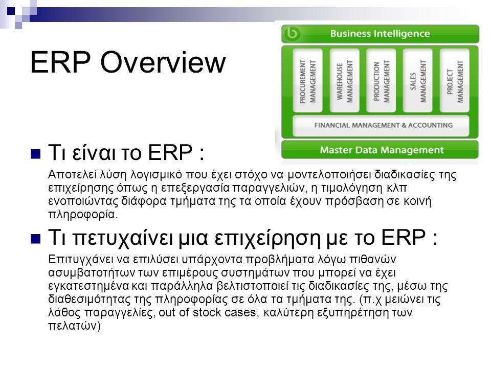 ERP Overview Τι είναι το ΕRP : Αποτελεί λύση λογισμικό που έχει στόχο να μοντελοποιήσει διαδικασίες της επιχείρησης όπως η επεξεργασία παραγγελιών, η