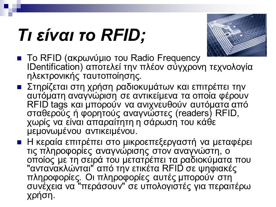 Τι είναι το RFID; To RFID (ακρωνύμιο του Radio Frequency IDentification) αποτελεί την πλέον σύγχρονη τεχνολογία ηλεκτρονικής ταυτοποίησης. Στηρίζεται