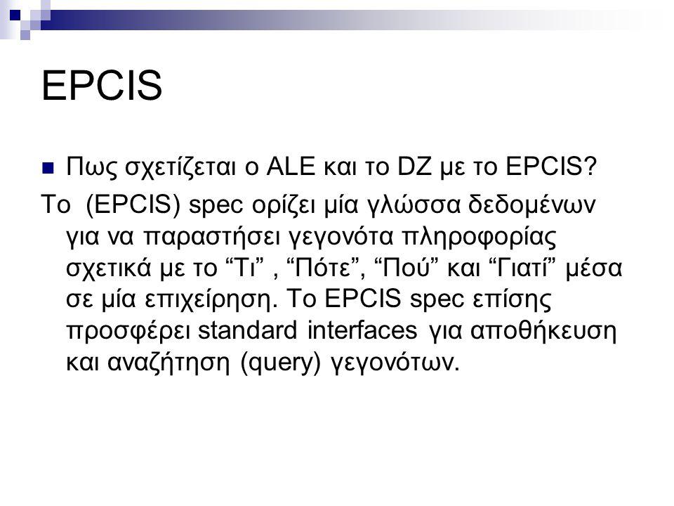 "EPCIS Πως σχετίζεται ο ALE και το DZ με το EPCIS? Το (EPCIS) spec ορίζει μία γλώσσα δεδομένων για να παραστήσει γεγονότα πληροφορίας σχετικά με το ""Τι"