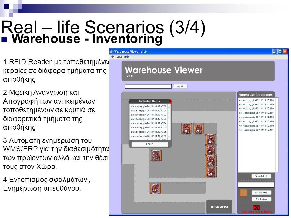 Real – life Scenarios (3/4) Warehouse - Inventoring 1.RFID Reader με τοποθετημένες κεραίες σε διάφορα τμήματα της αποθήκης 2.Μαζική Ανάγνωση και Απογρ