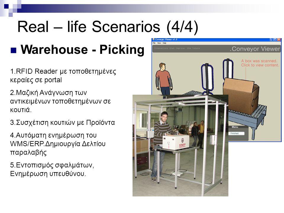 Real – life Scenarios (4/4) Warehouse - Picking 1.RFID Reader με τοποθετημένες κεραίες σε portal 2.Μαζική Ανάγνωση των αντικειμένων τοποθετημένων σε κ