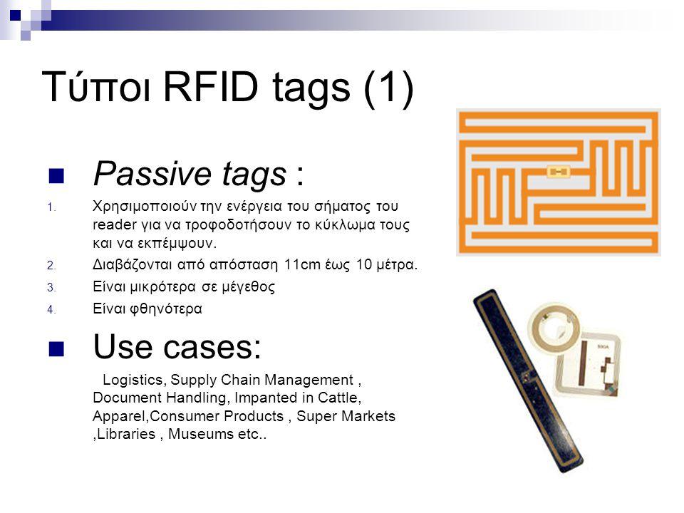 Τύποι RFID tags (1) Passive tags : 1. Χρησιμοποιούν την ενέργεια του σήματος του reader για να τροφοδοτήσουν το κύκλωμα τους και να εκπέμψουν. 2. Διαβ