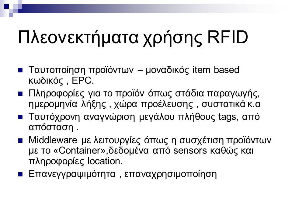 Πλεονεκτήματα χρήσης RFID Ταυτοποίηση προϊόντων – μοναδικός item based κωδικός, EPC. Πληροφορίες για το προϊόν όπως στάδια παραγωγής, ημερομηνία λήξης