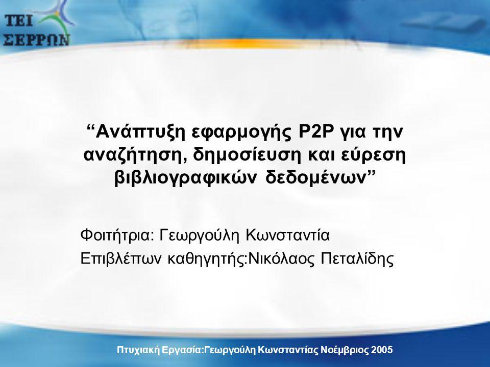 Ανάπτυξη εφαρμογής P2P για την αναζήτηση, δημοσίευση και εύρεση βιβλιογραφικών δεδομένων Φοιτήτρια: Γεωργούλη Κωνσταντία Επιβλέπων καθηγητής:Νικόλαος Πεταλίδης Πτυχιακή Εργασία:Γεωργούλη Κωνσταντίας Νοέμβριος 2005