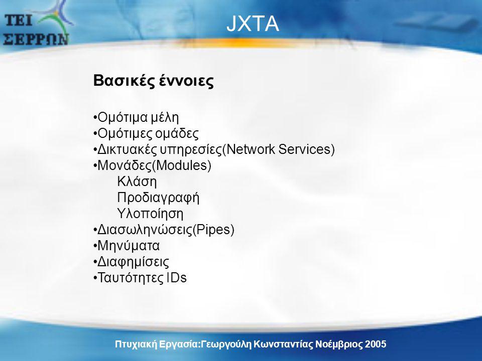 JXTA Βασικές έννοιες Ομότιμα μέλη Ομότιμες ομάδες Δικτυακές υπηρεσίες(Network Services) Μονάδες(Modules) Κλάση Προδιαγραφή Υλοποίηση Διασωληνώσεις(Pipes) Μηνύματα Διαφημίσεις Ταυτότητες IDs Πτυχιακή Εργασία:Γεωργούλη Κωνσταντίας Νοέμβριος 2005