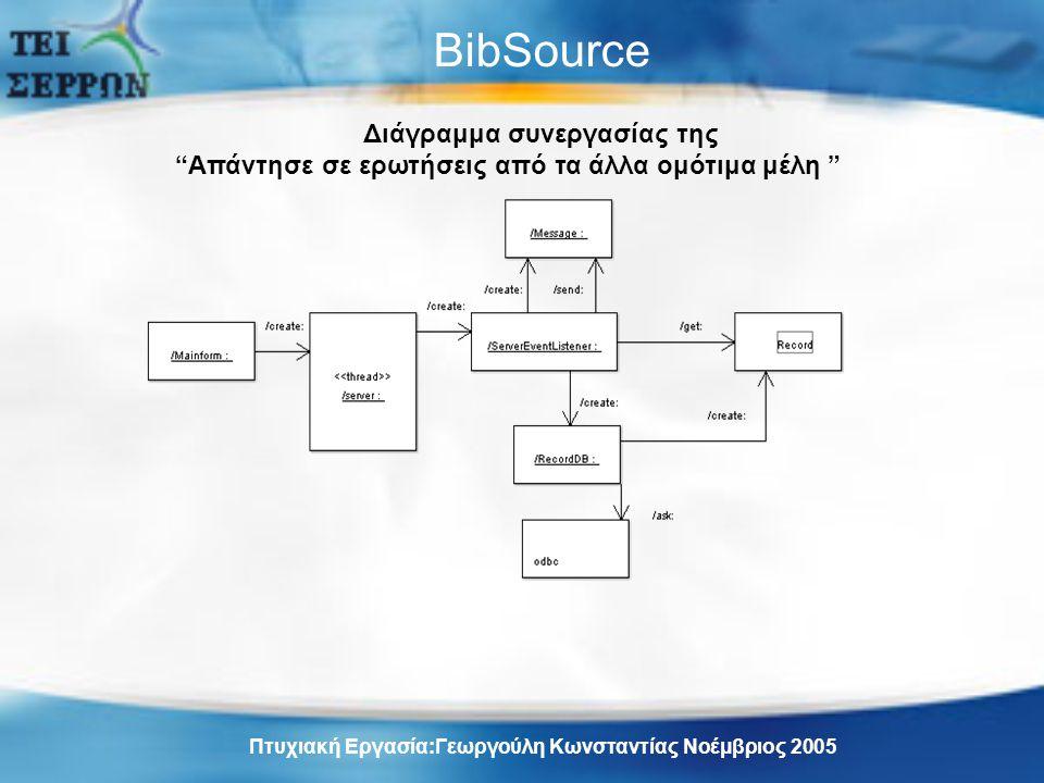 BibSource Διάγραμμα συνεργασίας της Απάντησε σε ερωτήσεις από τα άλλα ομότιμα μέλη Πτυχιακή Εργασία:Γεωργούλη Κωνσταντίας Νοέμβριος 2005