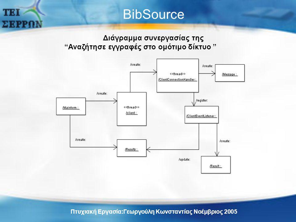 BibSource Διάγραμμα συνεργασίας της Αναζήτησε εγγραφές στο ομότιμο δίκτυο Πτυχιακή Εργασία:Γεωργούλη Κωνσταντίας Νοέμβριος 2005