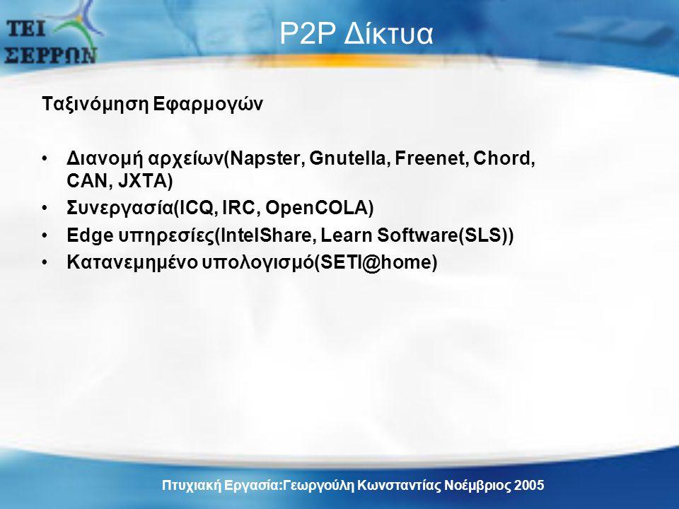 P2P Δίκτυα Ταξινόμηση Εφαρμογών Διανομή αρχείων(Napster, Gnutella, Freenet, Chord, CAN, JXTA) Συνεργασία(ICQ, IRC, OpenCOLA) Edge υπηρεσίες(IntelShare, Learn Software(SLS)) Κατανεμημένο υπολογισμό(SETI@home) Πτυχιακή Εργασία:Γεωργούλη Κωνσταντίας Νοέμβριος 2005