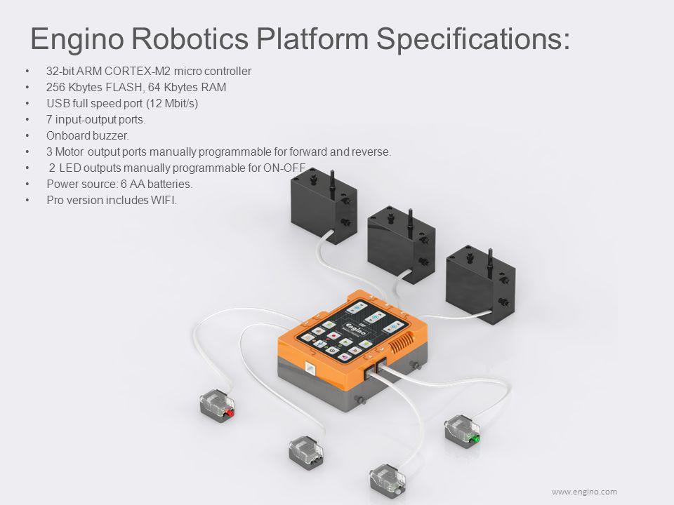 32-bit ARM CORTEX-M2 micro controller 256 Kbytes FLASH, 64 Kbytes RAM USB full speed port (12 Mbit/s) 7 input-output ports. Onboard buzzer. 3 Motor ou