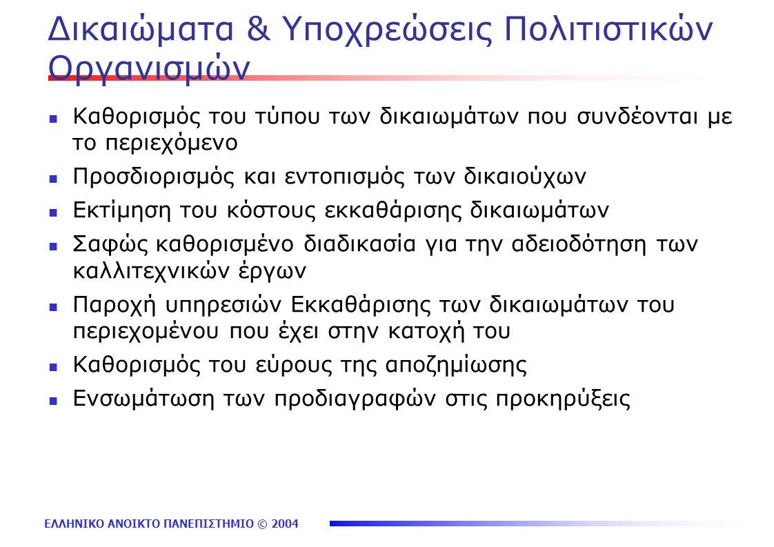 ΕΛΛΗΝΙΚΟ ΑΝΟΙΚΤΟ ΠΑΝΕΠΙΣΤΗΜΙΟ © 2004 Δικαιώματα & Υποχρεώσεις Πολιτιστικών Οργανισμών Καθορισμός του τύπου των δικαιωμάτων που συνδέονται με το περιεχόμενο Προσδιορισμός και εντοπισμός των δικαιούχων Εκτίμηση του κόστους εκκαθάρισης δικαιωμάτων Σαφώς καθορισμένο διαδικασία για την αδειοδότηση των καλλιτεχνικών έργων Παροχή υπηρεσιών Εκκαθάρισης των δικαιωμάτων του περιεχομένου που έχει στην κατοχή του Καθορισμός του εύρους της αποζημίωσης Ενσωμάτωση των προδιαγραφών στις προκηρύξεις