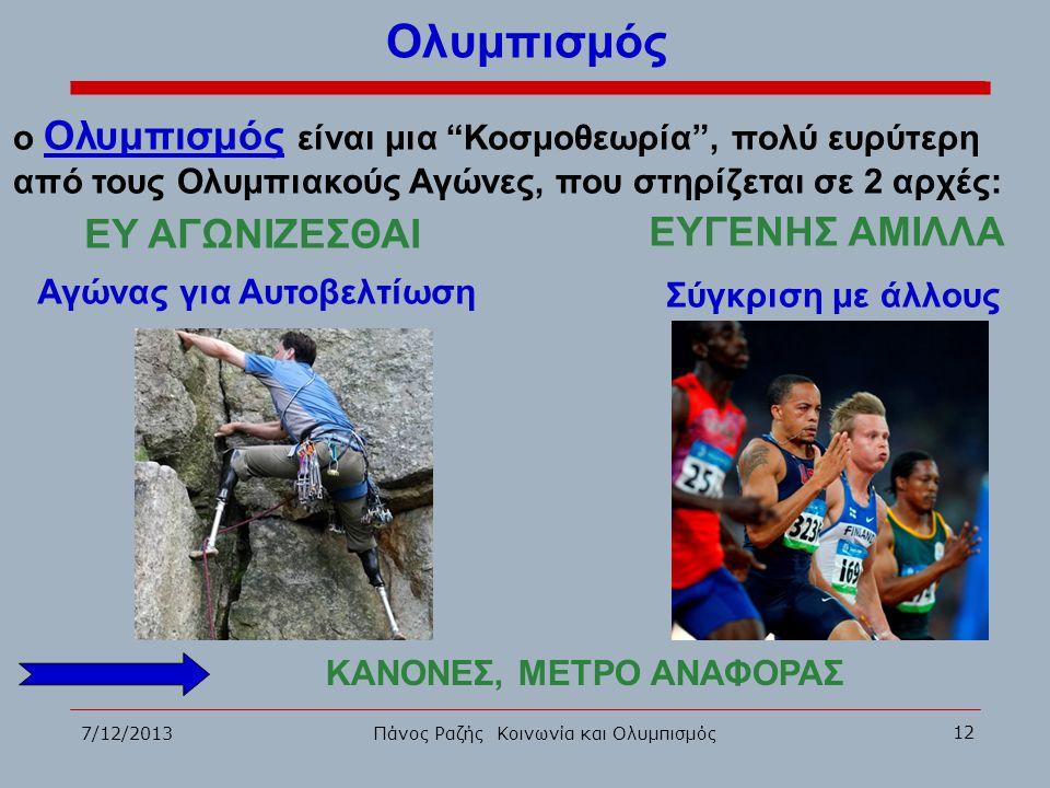 """7/12/2013 12 Πάνος Ραζής Κοινωνία και Ολυμπισμός Ολυμπισμός ο Ολυμπισμός είναι μια """"Κοσμοθεωρία"""", πολύ ευρύτερη από τους Ολυμπιακούς Αγώνες, που στηρί"""