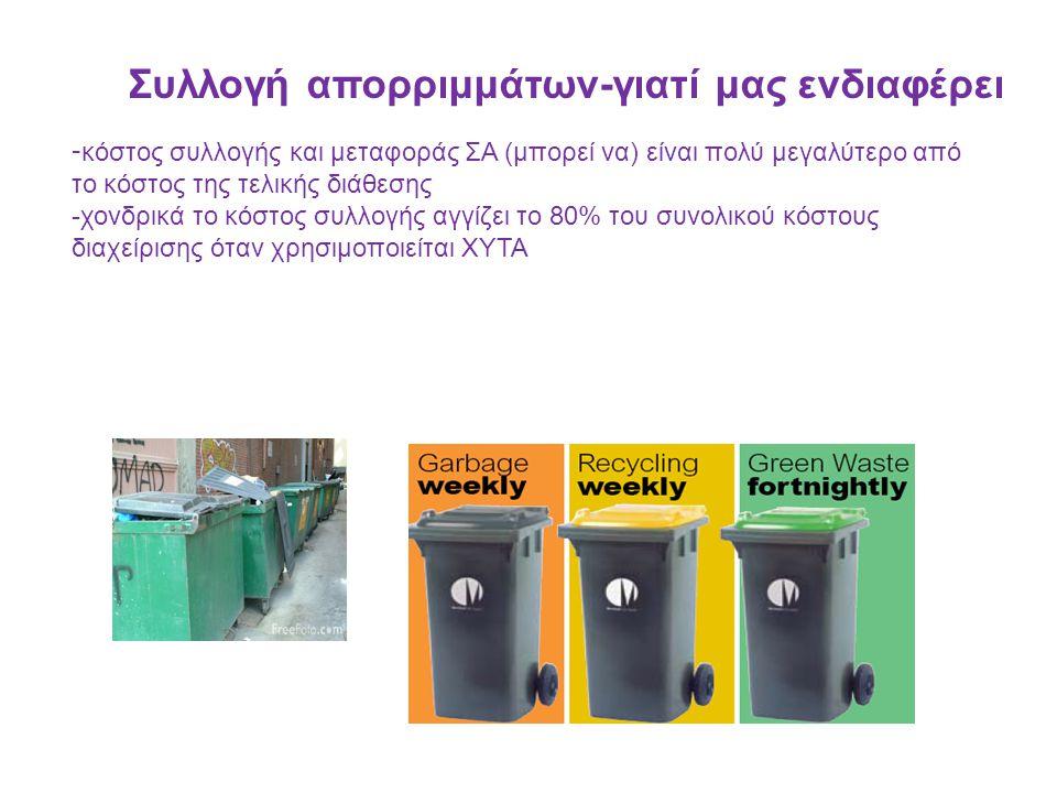 B ασικές αρχές ΣΑ και σχεδιασμός Η συλλογή απορριμμάτων μπορεί να χωριστεί χρονικά στα εξής στάδια 1)Παραγωγή ΑΣΑ 2)Προσωρινή αποθήκευση 3)Συλλογή 4)Μεταφορά και μεταφόρτωση προς διάθεση Οι υπεύθυνοι λήψης αποφάσεων πρέπει να σχεδιάσουν την συλλογή λαμβάνοντας υποψιν -κοινωνικές και πολιτιστικές παραμέτρους -επιπτώσεις της διαχείρισης και των αστοχιών της -διαθέσιμη υλικοτεχνική υποδομή -διαθέσιμους οικονομικούς πόρους -νομοθετικό πλαίσιο -γνώμη δημοτών Πολλές φορές ο σχεδιασμός ΣΑ παρακωλύεται από συνδυασμό πολλών (ή όλων !) από τα παρακάτω -πολιτικές παρεμβάσεις -αδιαφορία/ έλλειψη ενημέρωσης/΄ έλλειψη εκπαίδευσης -έλλειψη πληροφορίας/στατιστικών δεδομένων/επαρκούς επιστημονικής υποστήριξης -περιορισμένες εναλλακτικές δράσεις και προοπτικές