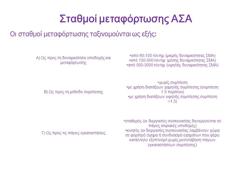 Σταθμοί μεταφόρτωσης ΑΣΑ Α) Ως προς τη δυναμικότητα υποδοχής και μεταφόρτωσης από 60-150 τόν/ημ (μικρής δυναμικότητας ΣΜΑ) από 150-500 τόν/ημ (μέσης δυναμικότητας ΣΜΑ) από 500-3000 τόν/ημ (υψηλής δυναμικότητας ΣΜΑ) Β) Ως προς τη μέθοδο συμπίεσης χωρίς συμπίεση με χρήση διατάξεων χαμηλής συμπίεσης (συμπίεση 1:3 περίπου) με χρήση διατάξεων υψηλής συμπίεσης συμπίεση >1:3) Γ) Ως προς τις πάγιες εγκαταστάσεις σταθερός (οι διεργασίες συσκευασίας διενεργούνται σε πάγιες κτιριακές υποδομές) κινητός (οι διεργασίες συσκευασίας λαμβάνουν χώρα σε φορτηγό όχημα ή συνδυασμό οχημάτων που φέρει κατάλληλο εξοπλισμό χωρίς μεσολάβηση πάγιων εγκαταστάσεων συμπίεσης) Οι σταθμοί μεταφόρτωσης ταξινομούνται ως εξής: