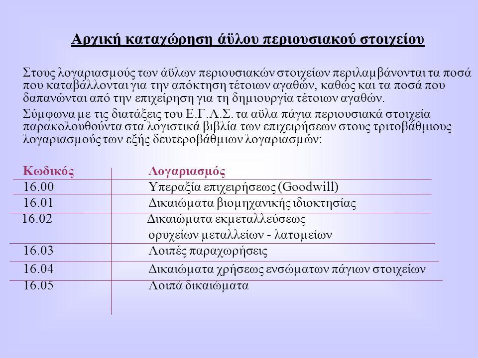 Αρχική καταχώρηση άϋλου περιουσιακού στοιχείου Στους λογαριασµούς των άϋλων περιουσιακών στοιχείων περιλαµβάνονται τα ποσά που καταβάλλονται για την α