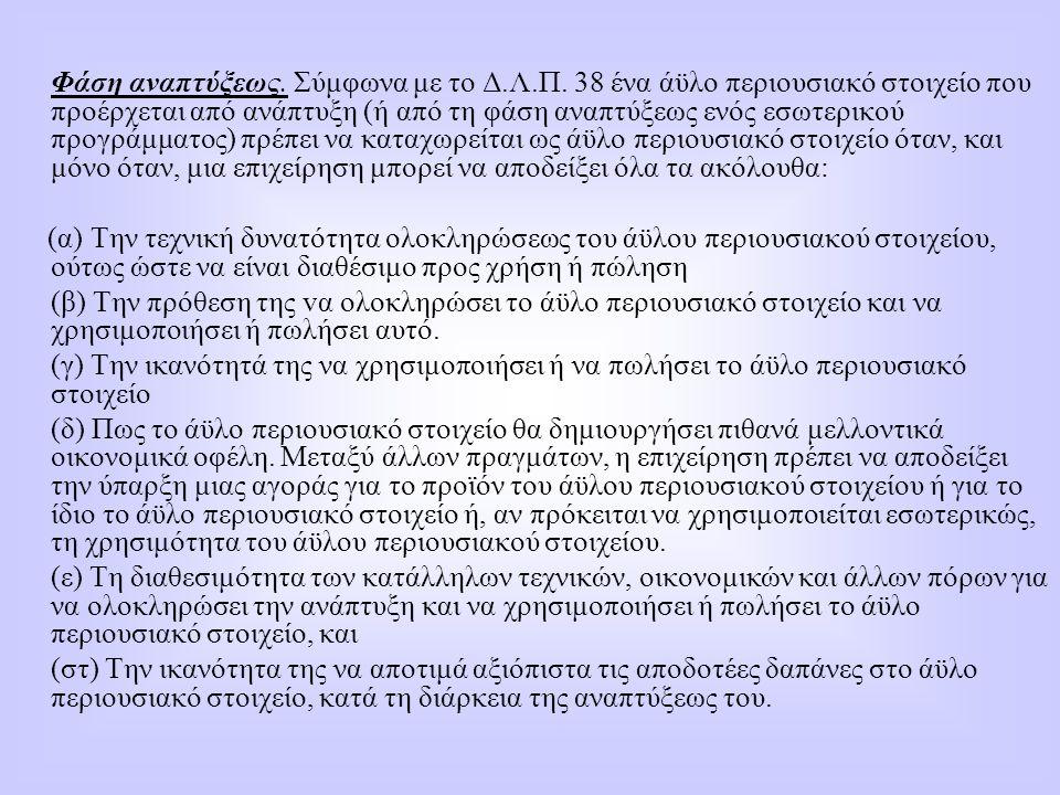 Φάση αναπτύξεως. Σύμφωνα με το Δ.Λ.Π. 38 ένα άϋλο περιουσιακό στοιχείο που προέρχεται από ανάπτυξη (ή από τη φάση αναπτύξεως ενός εσωτερικού προγράμμα