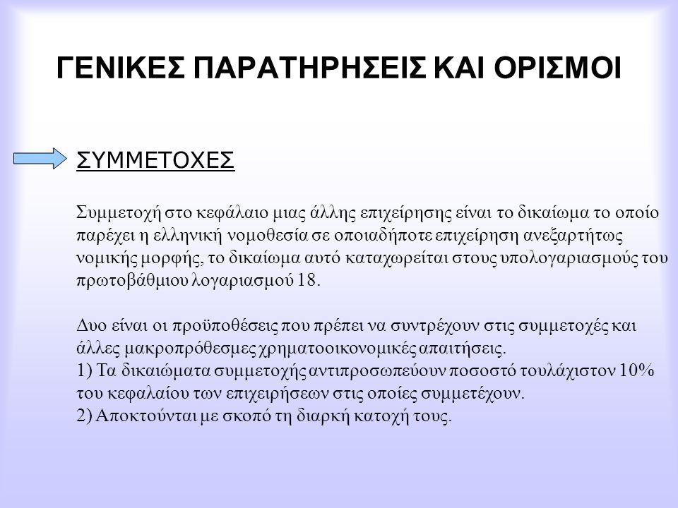 ΓΕΝΙΚΕΣ ΠΑΡΑΤΗΡΗΣΕΙΣ ΚΑΙ ΟΡΙΣΜΟΙ ΣΥΜΜΕΤΟΧΕΣ Συμμετοχή στο κεφάλαιο μιας άλλης επιχείρησης είναι το δικαίωμα το οποίο παρέχει η ελληνική νομοθεσία σε ο