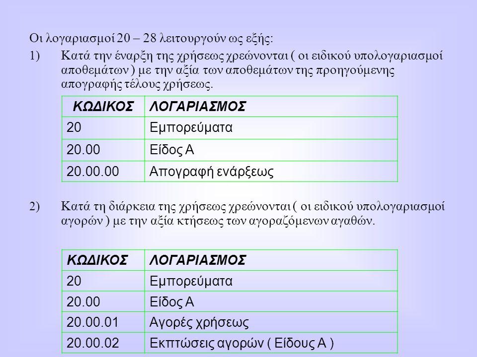 Οι λογαριασμοί 20 – 28 λειτουργούν ως εξής: 1) Κατά την έναρξη της χρήσεως χρεώνονται ( οι ειδικού υπολογαριασμοί αποθεμάτων ) με την αξία των αποθεμά