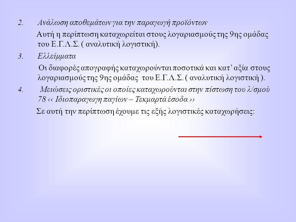 2. Ανάλωση αποθεμάτων για την παραγωγή προϊόντων Αυτή η περίπτωση καταχωρείται στους λογαριασμούς της 9ης ομάδας του Ε.Γ.Λ.Σ. ( αναλυτική λογιστική).