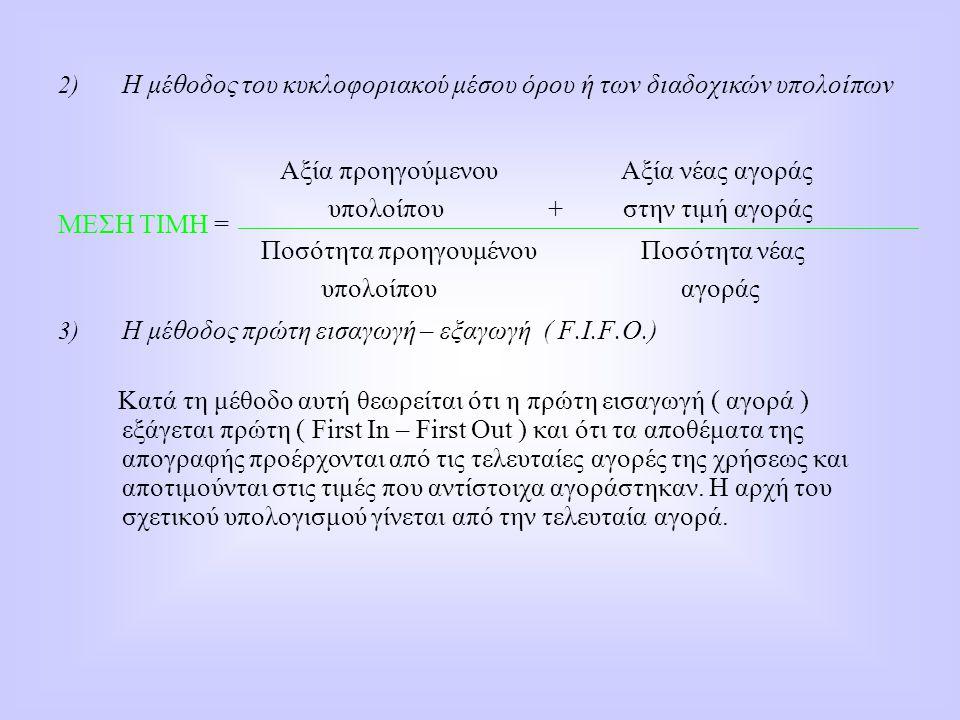 2) Η μέθοδος του κυκλοφοριακού μέσου όρου ή των διαδοχικών υπολοίπων ΜΕΣΗ ΤΙΜΗ = 3) Η μέθοδος πρώτη εισαγωγή – εξαγωγή ( F.I.F.O.) Κατά τη μέθοδο αυτή