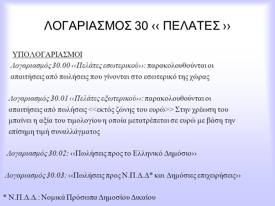 ΛΟΓΑΡΙΑΣΜΟΣ 30 ‹‹ ΠΕΛΑΤΕΣ ›› ΥΠΟΛΟΓΑΡΙΑΣΜΟΙ Λογαριασμός 30.00 ‹‹Πελάτες εσωτερικού››: παρακολουθούνται οι απαιτήσεις από πωλήσεις που γίνονται στο εσω