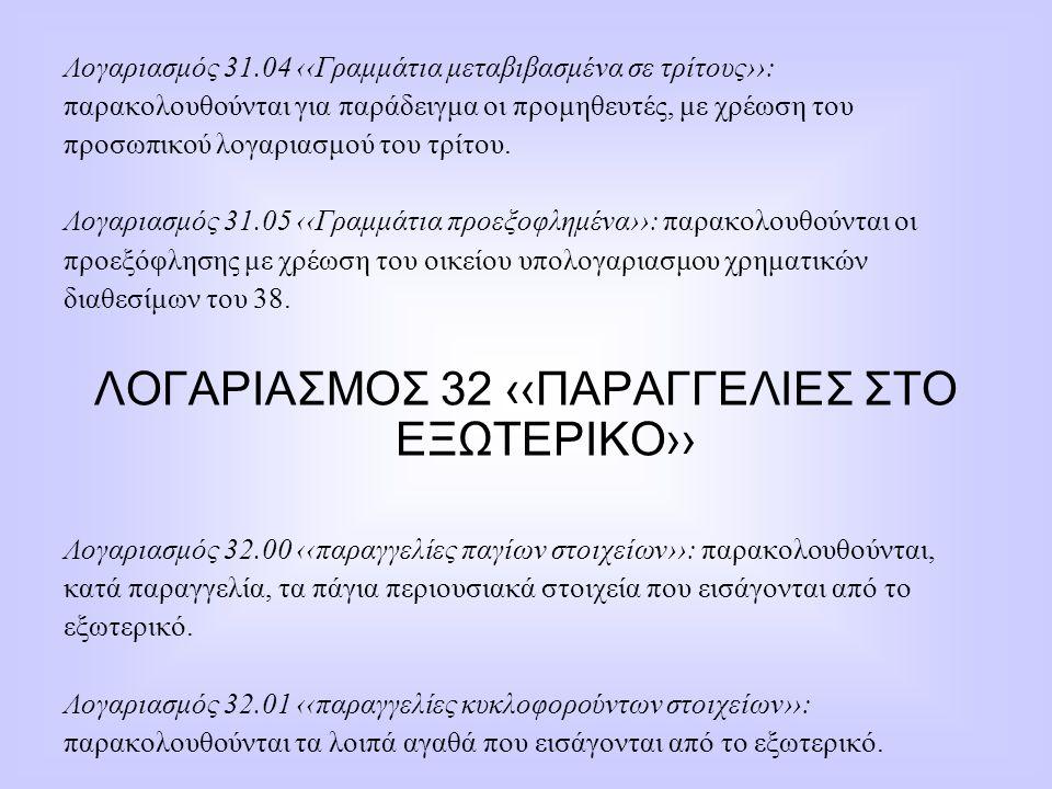 Λογαριασμός 31.04 ‹‹Γραμμάτια μεταβιβασμένα σε τρίτους››: παρακολουθούνται για παράδειγμα οι προμηθευτές, με χρέωση του προσωπικού λογαριασμού του τρί