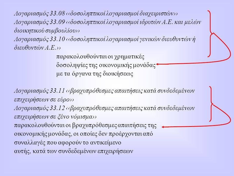 Λογαριασμός 33.08 ‹‹δοσοληπτικοί λογαριασμοί διαχειριστών›› Λογαριασμός 33.09 ‹‹δοσοληπτικοί λογαριασμοί ιδρυτών Α.Ε. και μελών διοικητικού συμβουλίου