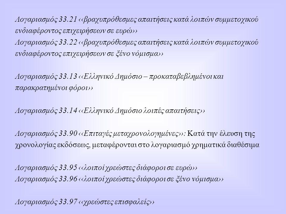 Λογαριασμός 33.21 ‹‹βραχυπρόθεσμες απαιτήσεις κατά λοιπών συμμετοχικού ενδιαφέροντος επιχειρήσεων σε ευρώ›› Λογαριασμός 33.22 ‹‹βραχυπρόθεσμες απαιτήσ