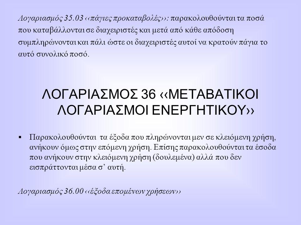Λογαριασμός 35.03 ‹‹πάγιες προκαταβολές››: παρακολουθούνται τα ποσά που καταβάλλονται σε διαχειριστές και μετά από κάθε απόδοση συμπληρώνονται και πάλ