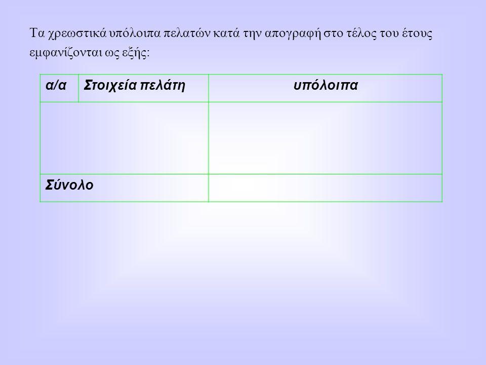 Τα χρεωστικά υπόλοιπα πελατών κατά την απογραφή στο τέλος του έτους εμφανίζονται ως εξής: α/αΣτοιχεία πελάτηυπόλοιπα Σύνολο
