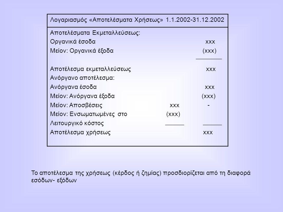 Λογαριασμός «Αποτελέσματα Χρήσεως» 1.1.2002-31.12.2002 Αποτελέσματα Εκμεταλλεύσεως: Οργανικά έσοδα xxx Μείον: Οργανικά έξοδα (xxx) Αποτέλεσμα εκμεταλλ