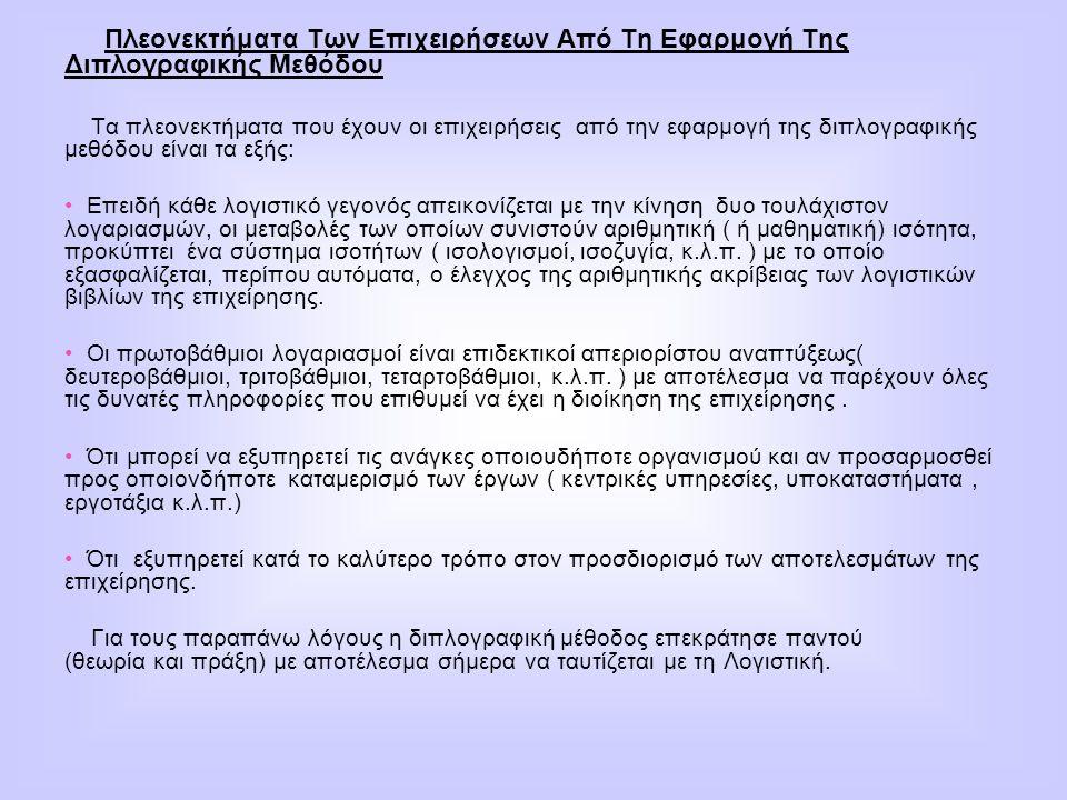 Πλεονεκτήματα Των Επιχειρήσεων Από Τη Εφαρμογή Της Διπλογραφικής Μεθόδου Τα πλεονεκτήματα που έχουν οι επιχειρήσεις από την εφαρμογή της διπλογραφικής
