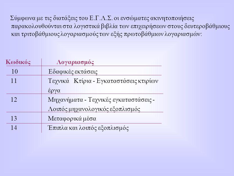 Σύμφωνα με τις διατάξεις του Ε.Γ.Λ.Σ. οι ενσώματες ακινητοποιήσεις παρακολουθούνται στα λογιστικά βιβλία των επιχειρήσεων στους δευτεροβάθμιους και τρ