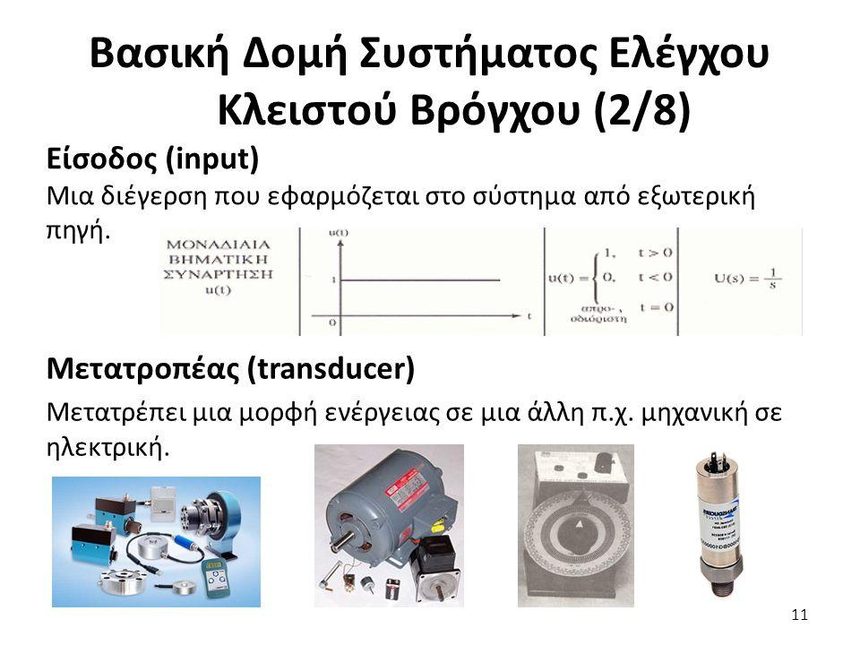 Είσοδος (input) Μια διέγερση που εφαρμόζεται στο σύστημα από εξωτερική πηγή. 11 Βασική Δομή Συστήματος Ελέγχου Κλειστού Βρόγχου (2/8) Μετατροπέας (tra
